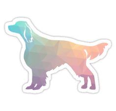 Irish Red and White Setter Dog Breed Colorful Geometric Pattern Silhouette in Pastel colors • Also buy this artwork on stickers, apparel, phone cases, and more.