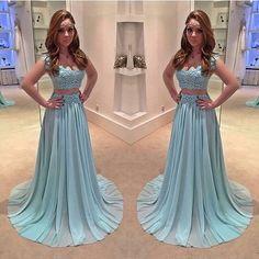 2 Pieces Lace Blue Beautiful Junior Long Prom Dresses, BG51479