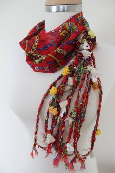 Boho Red Braided Ethnic Scarf, Turkish OYA, Bohemian gypsy headwrap, hair wrap, yemeni, crochet - Bandana, Dreadlocks Red Bandana Boho Hippy