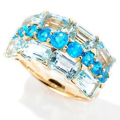 145-402 - Gem Treasures® 14K Gold 4.16ctw Neon Blue Apatite & Sky Blue Topaz Three-Row Ring