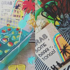 Pool party! Pool cake! Blue jelly and lifesavers are all it takes! Jazz it up with a cool Volleyball net cake bunting. We love to braai!