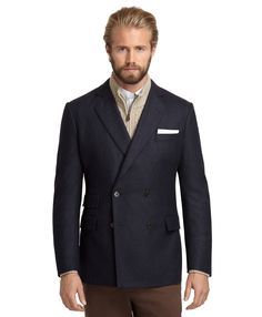 Brooks Brothers Regent Fit Doublebreasted Flannel Sport Coat in Blue for Men (Navy) | Lyst
