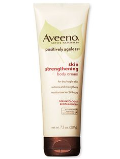 For overall moisture, 2013 Anti-Aging Award Silver Winner Aveeno Positively Ageless Skin Strengthening Body Cream ($10 for 7.3 oz.) came out on top. #aveeno #bodycream #lotion