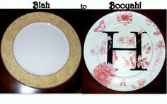 Make Your Own Monogram Plate. Easy project.