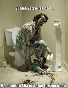 Haha funny zombie pooping humor
