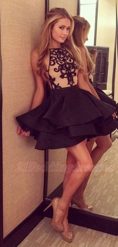 Pretty Black Short Homecoming Dresses For Girls   http://21weddingdresses.storenvy.com/products/16923765-pretty-black-short-homecoming-dresses-for-girls