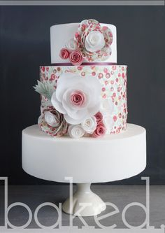 Summer Wedding Cake with wafter paper flowers and floral pattern