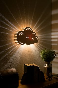 Cloud Night Light - Wooden Wall Hanging Bedside Lamp - Kid's Room and Nursery Decor, Cloud - Wall Hanging Night Light - Baby & Kid& Room Lamp - Nature Decor - Wooden Lasercut Accent Lighting - Laser Cut Nightlight.