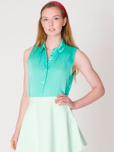 Sleeveless Lawn Crop Button-Up | Sleeveless | Women's Collared ...