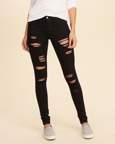 -Hollister Shredded Low-Rise Super Skinny Jeans -Size 0