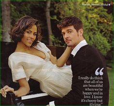 Singer Robin Thicke and his wife, actress Paula Patton, together since they were 16 (so just about 20 years, which is record making in their industries and noteworthy even for the rest of today's society!!)
