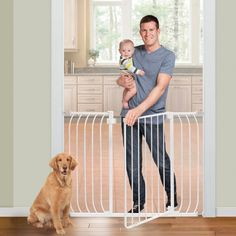 Chic Dog Gate Indoor X-Tall Pet Fence Baby Barrier Adjustable Walk Thru Swinging Door Pet Supplies from top store Safety Gates For Stairs, Baby Gate For Stairs, Best Baby Gates, Baby Barrier, Pet Gate, Dog Gates, Swinging Doors, Fixation, Baby Safety