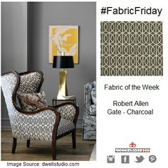 Happy #FabricFriday! Gold accents look beautiful with charcoal hues. Try one our most popular fabrics from Robert Allen. It works perfectly with gilded accessories! #interior #decor #design