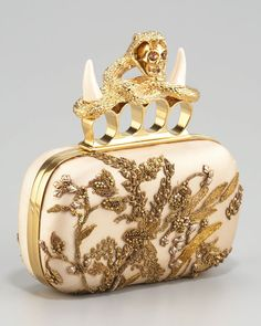 Alexander Mcqueen Embroidered Satin Clutch in Beige (flesh gold)