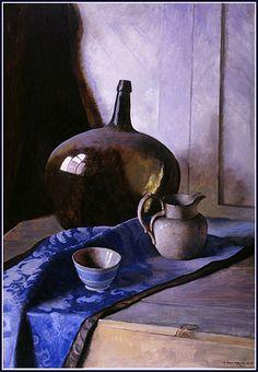 """Natureza Morta com Garrafa sobre Brocado Azul"" - Pintura de N. C. Wyeth (1925-1932)"