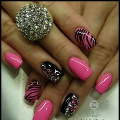 See more Pink and black nail polish style for ladies