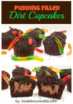 Pudding Filled Dirt Cupcakes - chocolate cupcakes with a pudding center and cookie crumbs and gummy worms on top. Best of both worlds, cupcakes and sundae. Oreo Dessert, Brownie Desserts, Köstliche Desserts, Delicious Desserts, Yummy Food, Pudding Desserts, Dirt Dessert, Healthy Food, Halloween Desserts