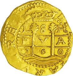 Peru: , Peru: Carlos II gold cob 8 Escudos castles in thefirst and third quarters, superb UNC with very sharp features and. Pirate Coins, Coin Design, Coin Worth, Gold And Silver Coins, Pirate Treasure, Coin Ring, Inca, Gold Bullion, World Coins