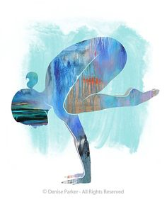 YOGA CROW POSE Moon Colors Small - Yoga Artwork, Yoga Pose, Yoga Artwork, Yoga Print, Giclée Print, Contemporary Yoga Art