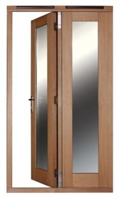 4ft Folding French Door Right Hand White Oak Veneer With Satin Chrome Hardware 2090x1190mm, 20057