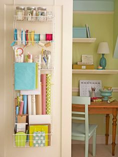 Wrapping supplies stored on closet door