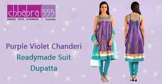 Visit Chhabra555 in Australia with Responsive Customer Service - enquiries responded within 24 hours, and Bring Purple Violet Chanderi Readymade Suit Dupatta @ $148.95 AUD