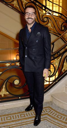 Smart: Actor Jeremy Piven went all out in a pinstriped suit and a polka dot pocket handker. Mr Selfridge, Jeremy Piven, Pocket Handkerchief, London Cafe, Lbd, Style Icons, Charity, Gentleman, Polka Dots