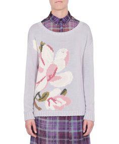 SALGARI Floral intarsia cotton sweater | MAX&Co. online Shop