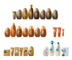 Bottles and graphics for suncare range. of the bottles and graphics of a sun cream sold by the distribution chain MERCADONA. The shapes of the bottles are inspired by the stones of the beaches. Cienfuegos, Sun Care, Packaging Design, Branding, Cosmetics, Spain, Bottles, Things To Sell, Behance