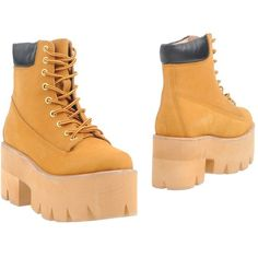 Jeffrey Campbell Ankle Boots ($184) ❤ liked on Polyvore featuring shoes, boots, ankle booties, ocher, short boots, wedge heel booties, military boots, combat booties and army boots