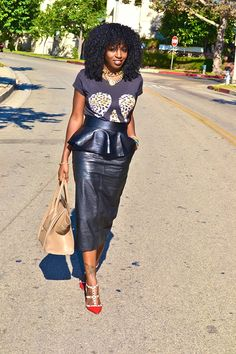 The leather peplum skirt.....very possible right now!