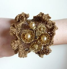 Knitted Bronze Wire Ruffle Bracelet with Vintage Accents