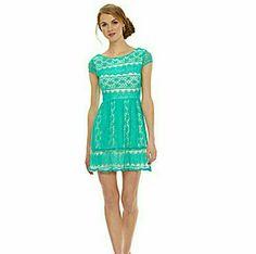 B. Darlin Lace Overlay Cap Sleeve Dress