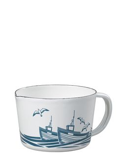 Wild & Wolf collab with Mini Moderns | Small 'Whitby' Enamelware Measuring Jug (inspired by the 'Whitby' wallpaper). Buy, and simply add to open shelving.