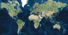 A world map containing every city with a population of at least 100.000.