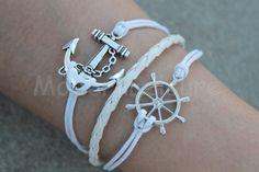 White anchor bracelet charm bracelets rudder by ModernLeisure