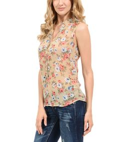 Beige Floral Distressed-Back Sleeveless Button-Up
