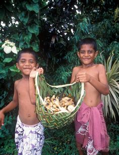 American Samoan children collecting food in a basket woven from plants. TRAVEL AMERICAN SAMOA BY  MultiCityWorldTravel.Com Search Engine For Hotels-Flights Bookings Globally Save Up To 80% On Travel Cost Easily find the best price and availabilty from all ...