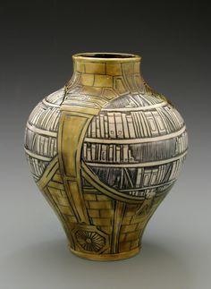 Athenaeum Vase. Carved porcelain, Stephanie Young 2014