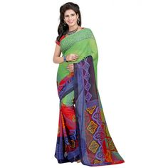 Elegant Multi Color Faux Georgette Printed Saree at just Rs.430/- on www.vendorvilla.com. Cash on Delivery, Easy Returns, Lowest Price.