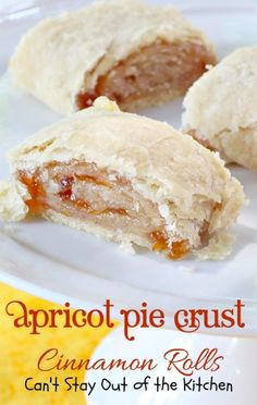 Apricot Pie Crust Cinnamon Rolls have a Homemade Pie Crust, spread with butter, apricot preserves & a cinnamon-sugar mixture. Serve for breakfast or dessert. Apricot Pie, Apricot Recipes, Citrus Recipes, Pie Crust Cinnamon Rolls, Just Desserts, Dessert Recipes, Peach Pie Filling, Almond Bars, Pie Crust Recipes