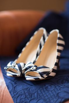 Blue and white striped bridal shoes—so cute! {Photo by Abby Grace Photography via Project Wedding}
