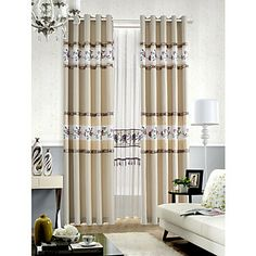 Country Floral Beige Lined Curtain Panel With Sheer Set – EUR € 65.99