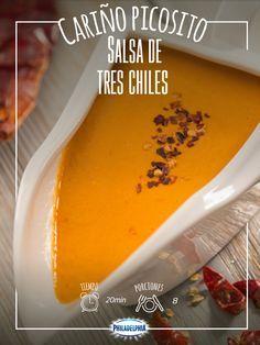 Siempre hay alguien en la familia que le encanta la comida picosita, prepárale esta Salsa de tres chiles. #Receta #Chiles #Salsa #SalsaDeTresChiles #Comida