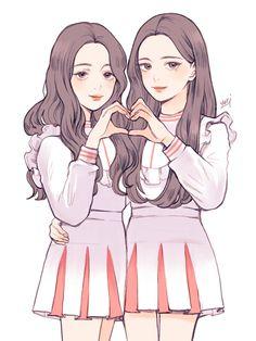 Best friends Anime Girl Cute, Beautiful Anime Girl, Kawaii Anime Girl, Anime Art Girl, Bff Drawings, Drawings Of Friends, Friend Anime, Anime Best Friends, Girl Cartoon