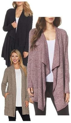 Open Cardigan Long Sleeves Clothing Fashion for Women at Nordstrom _ Cozy Chic Lite Calypso Wrap Cardigan Shrug For Dresses, Nice Dresses, Wrap Cardigan, Open Cardigan, Casual Skirt Outfits, Festival Looks, Hot Dress, Girls Night Out, Ladies Dress Design