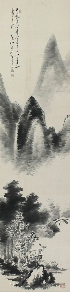 Inkwash landscape by Mitsui Hanzan. Japanese Hanging Scroll Painting Kakejiku – 130908