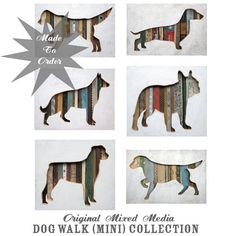 Custom Pet Portait, Dog Walk (Mini) Collection Made to Order, Custom Silhouette, Choose Your Dog Breed