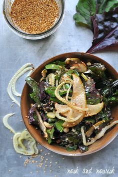 Roasted Pear and Fennel Salad w/Sesame Vinaigrette // via Nosh and Nourish