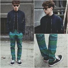 H Bomber Jacket, H Denim Shirt, H Patterned Pants, River Island Wayfarer - PATTERNED - Kuba Czarnotta